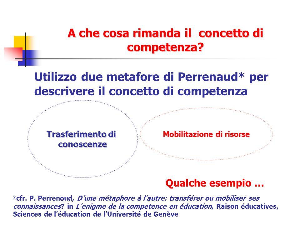 A che cosa rimanda il concetto di competenza? Utilizzo due metafore di Perrenaud* per descrivere il concetto di competenza Trasferimento di conoscenze