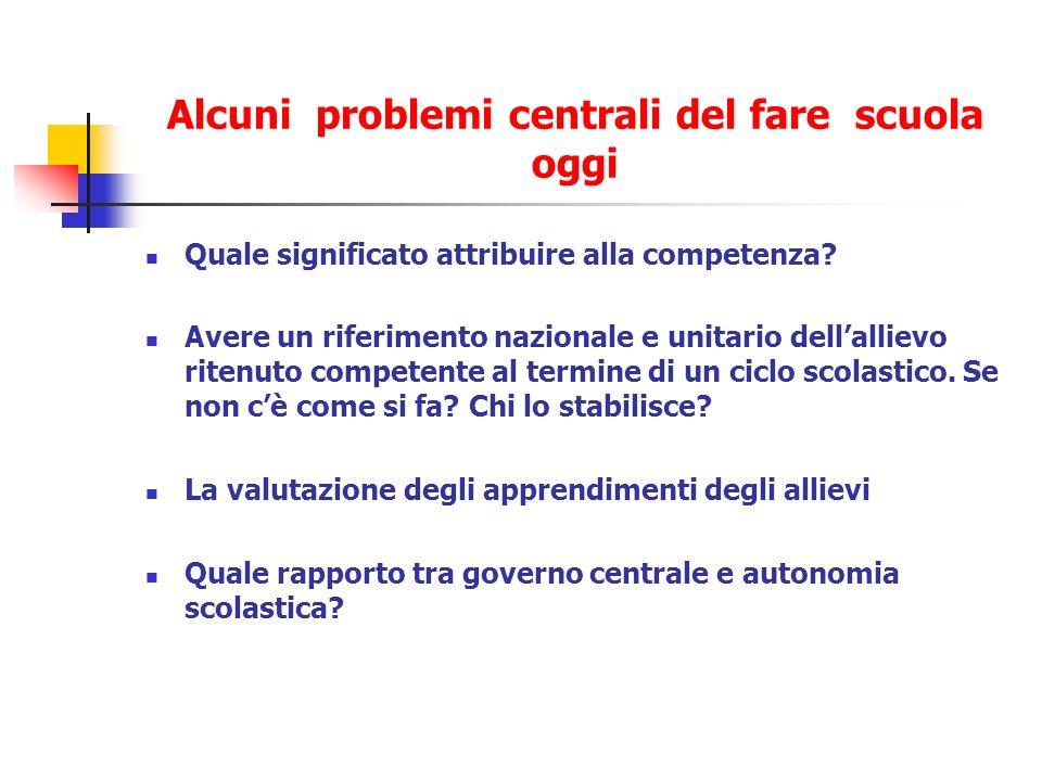 Alcuni problemi centrali del fare scuola oggi Quale significato attribuire alla competenza.