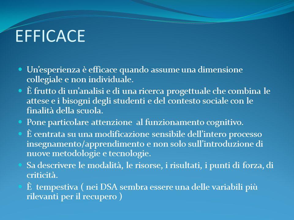 EFFICACE Unesperienza è efficace quando assume una dimensione collegiale e non individuale.
