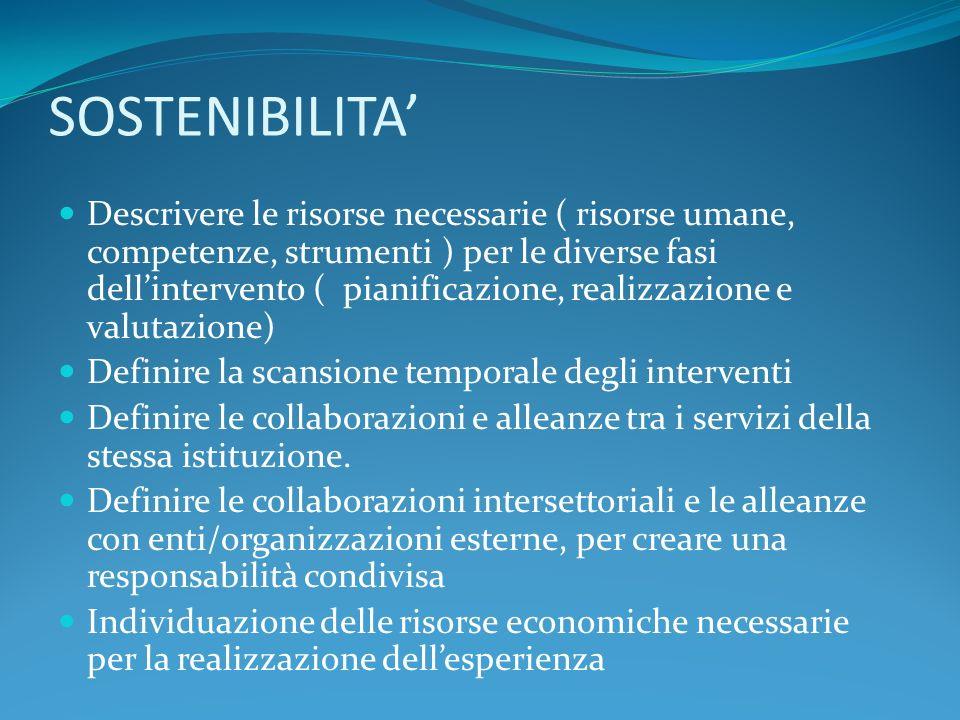 SOSTENIBILITA Descrivere le risorse necessarie ( risorse umane, competenze, strumenti ) per le diverse fasi dellintervento ( pianificazione, realizzazione e valutazione) Definire la scansione temporale degli interventi Definire le collaborazioni e alleanze tra i servizi della stessa istituzione.