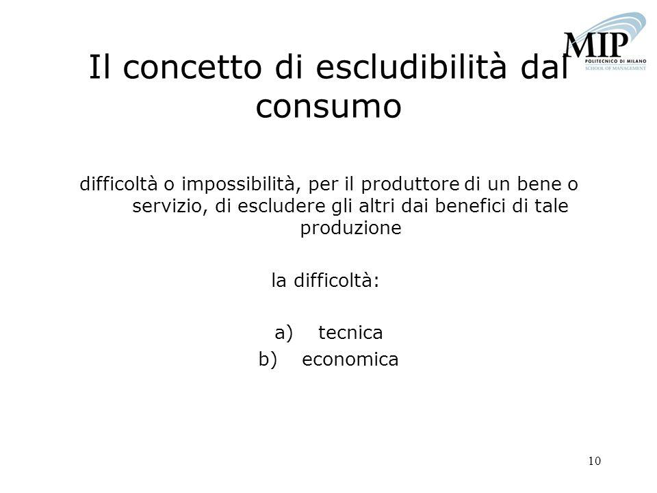 10 Il concetto di escludibilità dal consumo difficoltà o impossibilità, per il produttore di un bene o servizio, di escludere gli altri dai benefici d