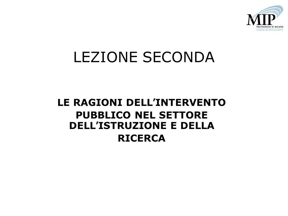 LEZIONE SECONDA LE RAGIONI DELLINTERVENTO PUBBLICO NEL SETTORE DELLISTRUZIONE E DELLA RICERCA