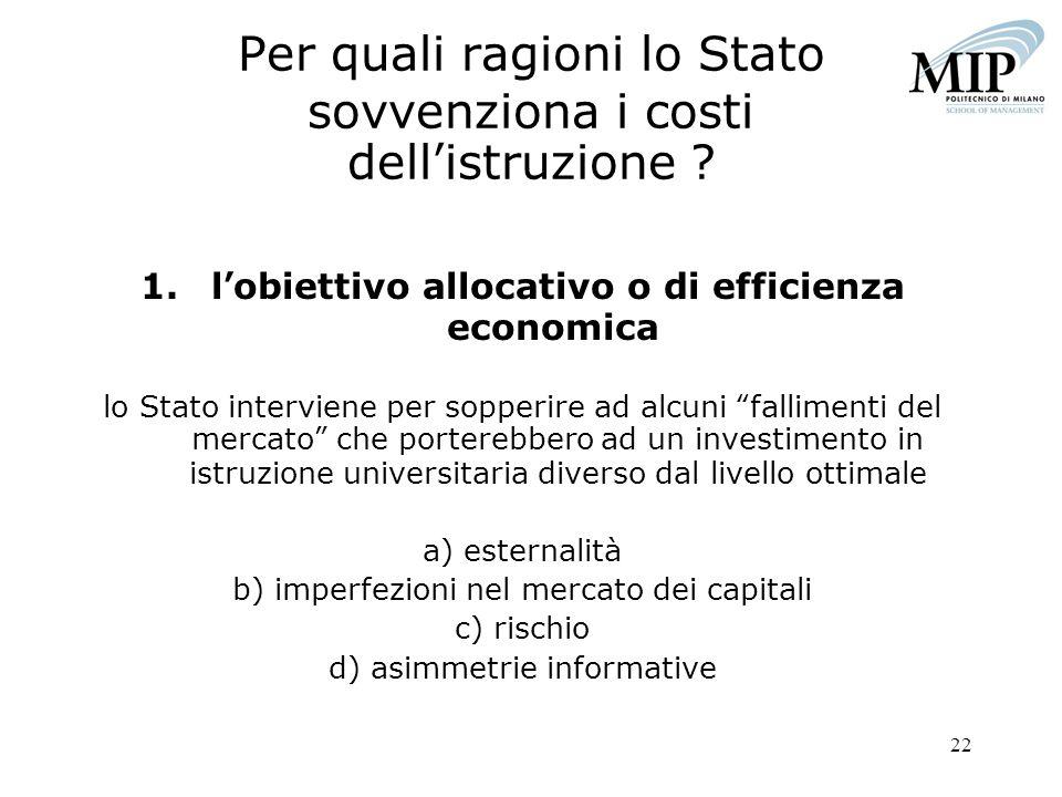 22 Per quali ragioni lo Stato sovvenziona i costi dellistruzione ? 1.lobiettivo allocativo o di efficienza economica lo Stato interviene per sopperire