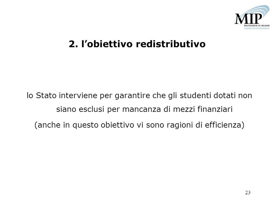 23 2. lobiettivo redistributivo lo Stato interviene per garantire che gli studenti dotati non siano esclusi per mancanza di mezzi finanziari (anche in