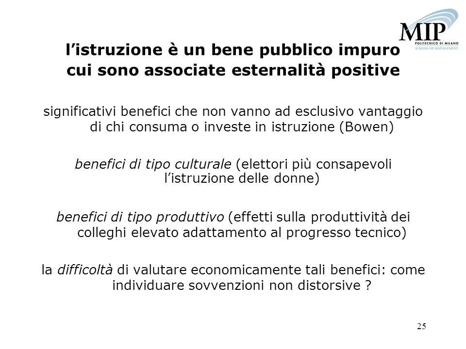 25 listruzione è un bene pubblico impuro cui sono associate esternalità positive significativi benefici che non vanno ad esclusivo vantaggio di chi co
