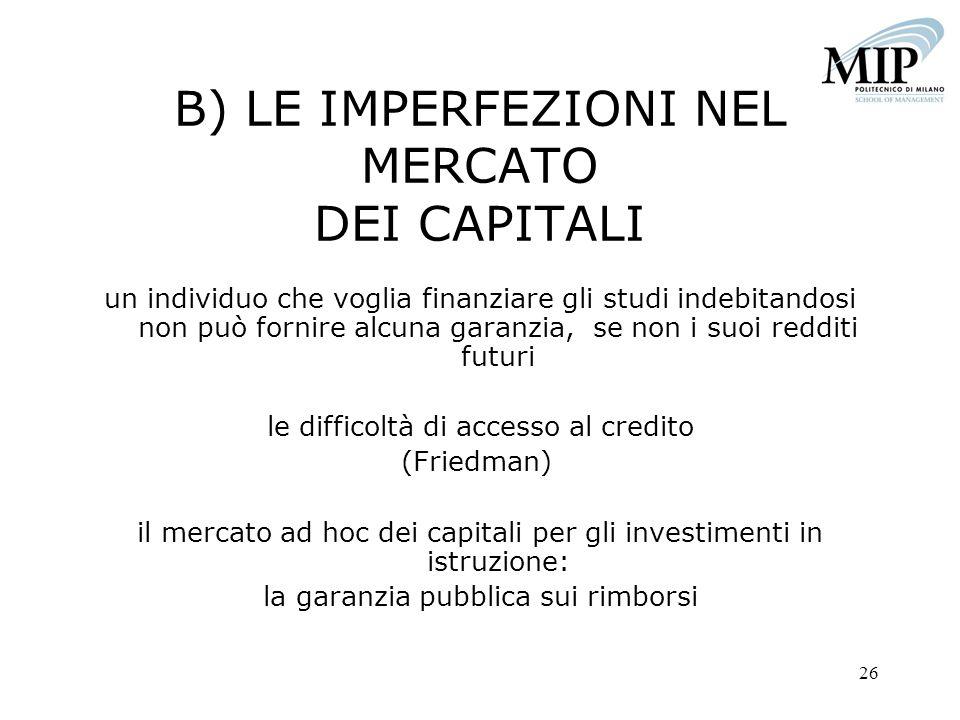 26 B) LE IMPERFEZIONI NEL MERCATO DEI CAPITALI un individuo che voglia finanziare gli studi indebitandosi non può fornire alcuna garanzia, se non i su