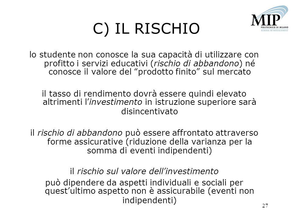 27 C) IL RISCHIO lo studente non conosce la sua capacità di utilizzare con profitto i servizi educativi (rischio di abbandono) né conosce il valore de