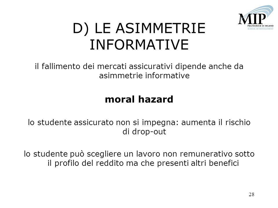 28 D) LE ASIMMETRIE INFORMATIVE il fallimento dei mercati assicurativi dipende anche da asimmetrie informative moral hazard lo studente assicurato non