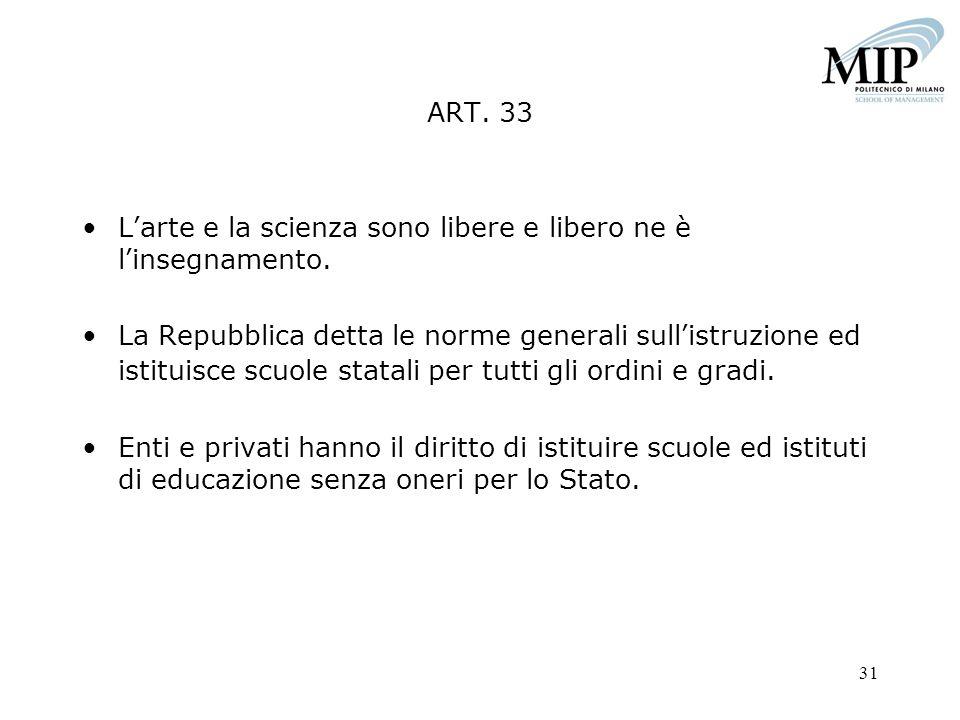 31 ART. 33 Larte e la scienza sono libere e libero ne è linsegnamento. La Repubblica detta le norme generali sullistruzione ed istituisce scuole stata