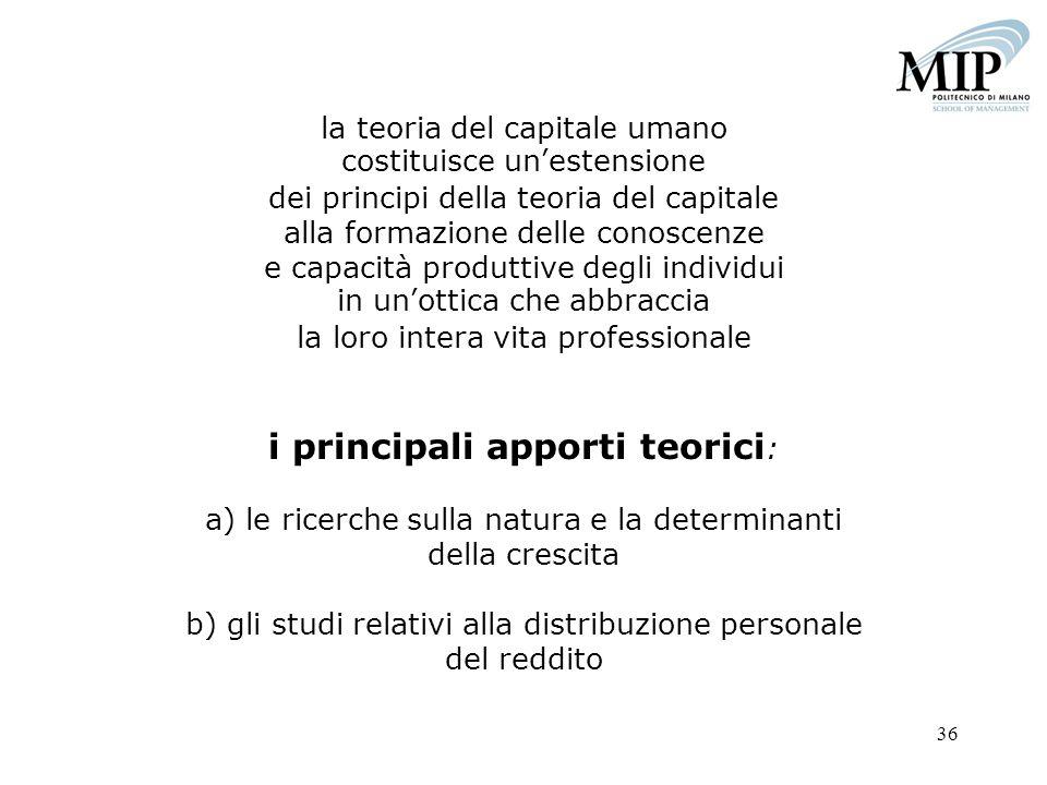 36 la teoria del capitale umano costituisce unestensione dei principi della teoria del capitale alla formazione delle conoscenze e capacità produttive