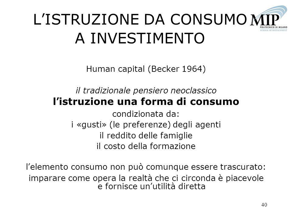 40 LISTRUZIONE DA CONSUMO A INVESTIMENTO Human capital (Becker 1964) il tradizionale pensiero neoclassico listruzione una forma di consumo condizionat