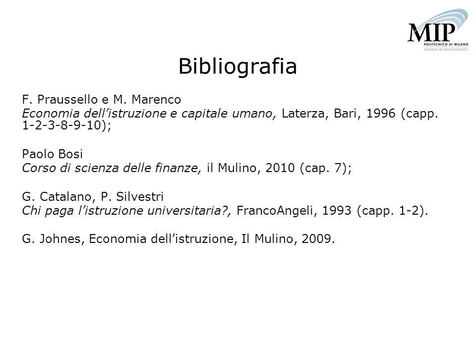 Bibliografia F. Praussello e M. Marenco Economia dellistruzione e capitale umano, Laterza, Bari, 1996 (capp. 1-2-3-8-9-10); Paolo Bosi Corso di scienz