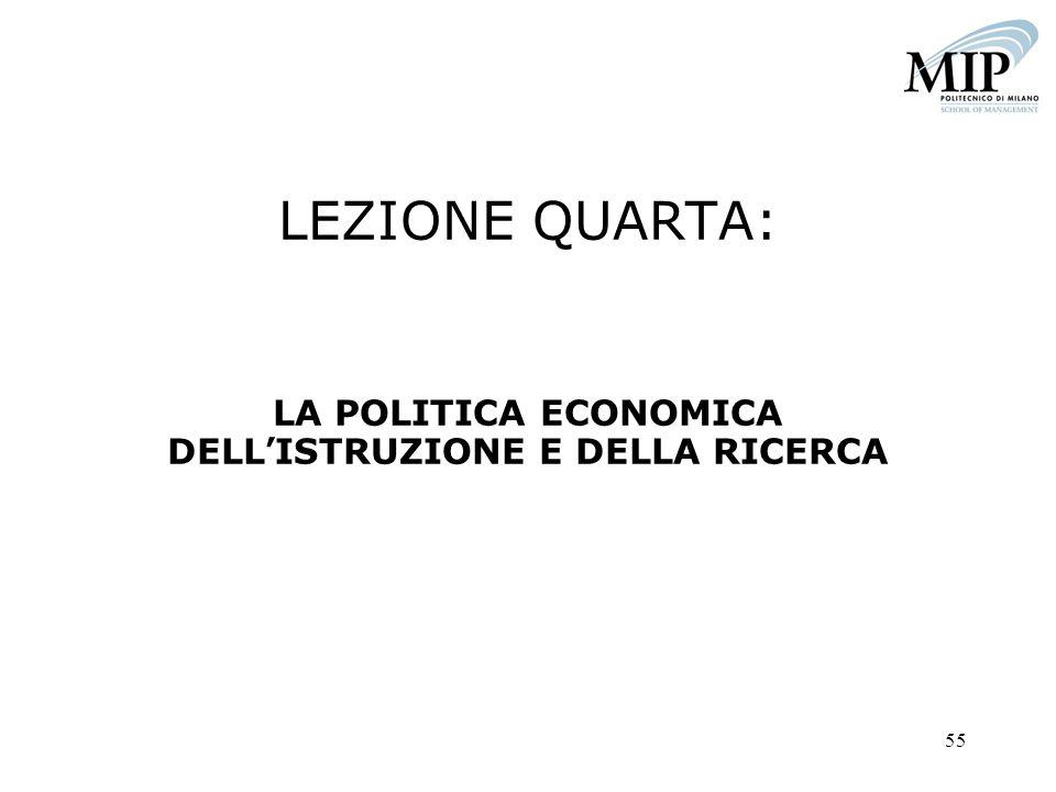 55 LEZIONE QUARTA: LA POLITICA ECONOMICA DELLISTRUZIONE E DELLA RICERCA