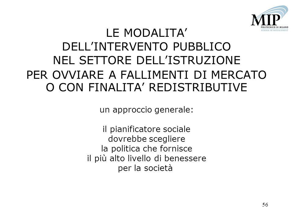 56 LE MODALITA DELLINTERVENTO PUBBLICO NEL SETTORE DELLISTRUZIONE PER OVVIARE A FALLIMENTI DI MERCATO O CON FINALITA REDISTRIBUTIVE un approccio gener