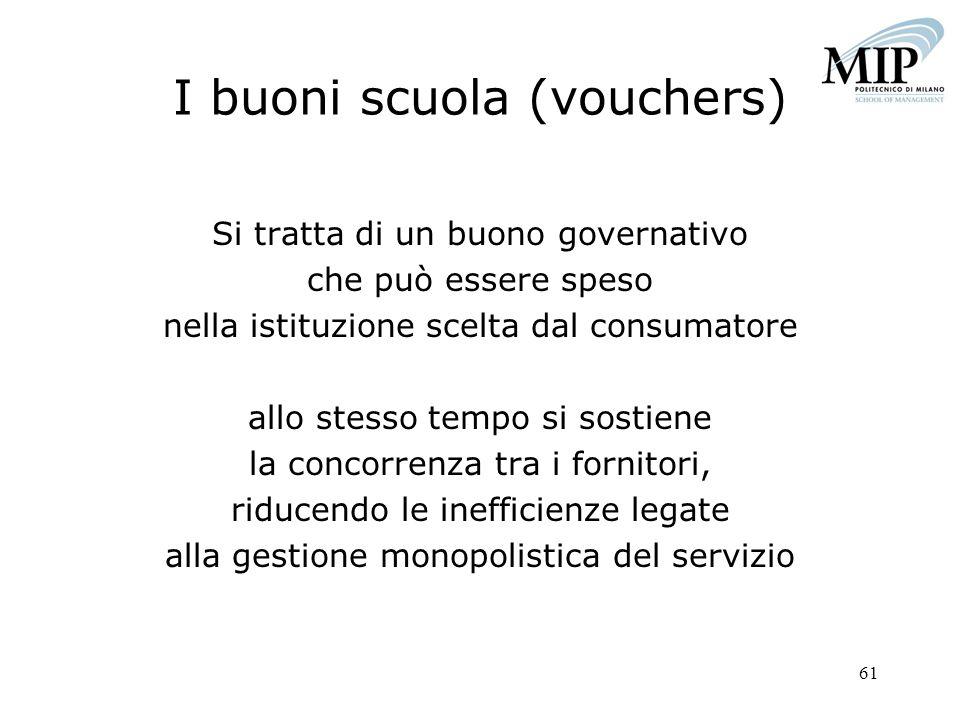 61 I buoni scuola (vouchers) Si tratta di un buono governativo che può essere speso nella istituzione scelta dal consumatore allo stesso tempo si sost