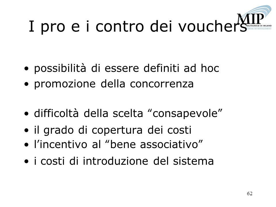 62 I pro e i contro dei vouchers possibilità di essere definiti ad hoc promozione della concorrenza difficoltà della scelta consapevole il grado di co
