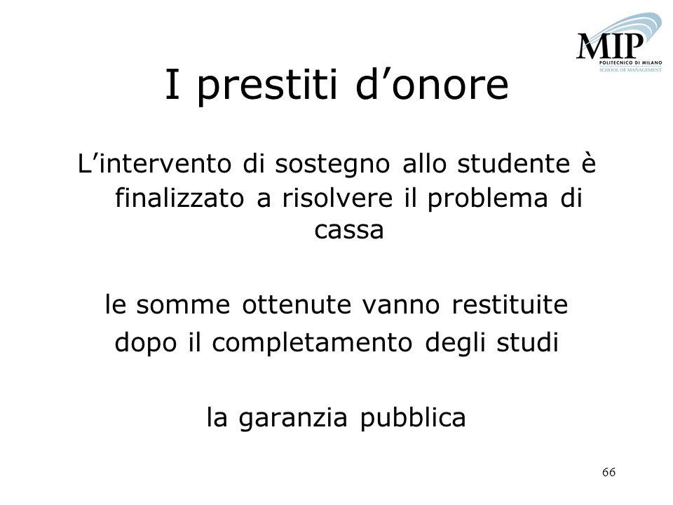 66 I prestiti donore Lintervento di sostegno allo studente è finalizzato a risolvere il problema di cassa le somme ottenute vanno restituite dopo il c