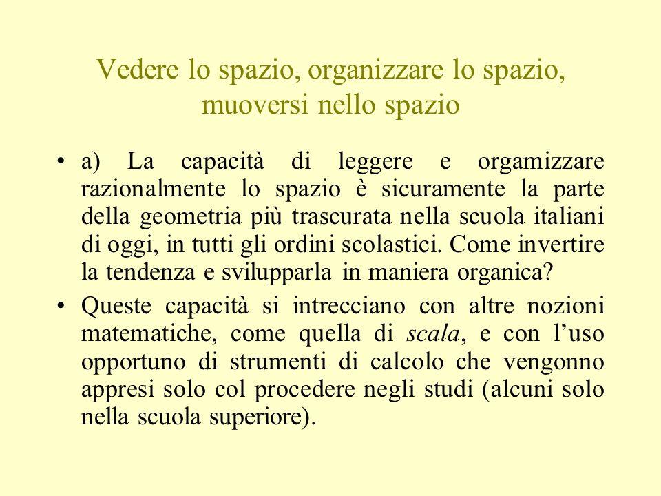Vedere lo spazio, organizzare lo spazio, muoversi nello spazio a) La capacità di leggere e orgamizzare razionalmente lo spazio è sicuramente la parte della geometria più trascurata nella scuola italiani di oggi, in tutti gli ordini scolastici.