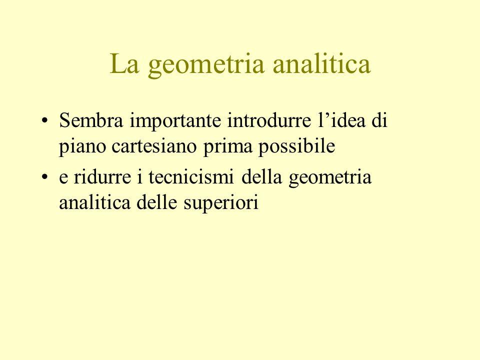 La geometria analitica Sembra importante introdurre lidea di piano cartesiano prima possibile e ridurre i tecnicismi della geometria analitica delle superiori