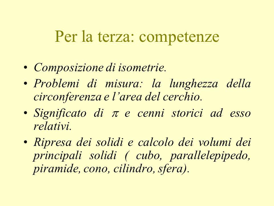 Per la terza: competenze Composizione di isometrie.