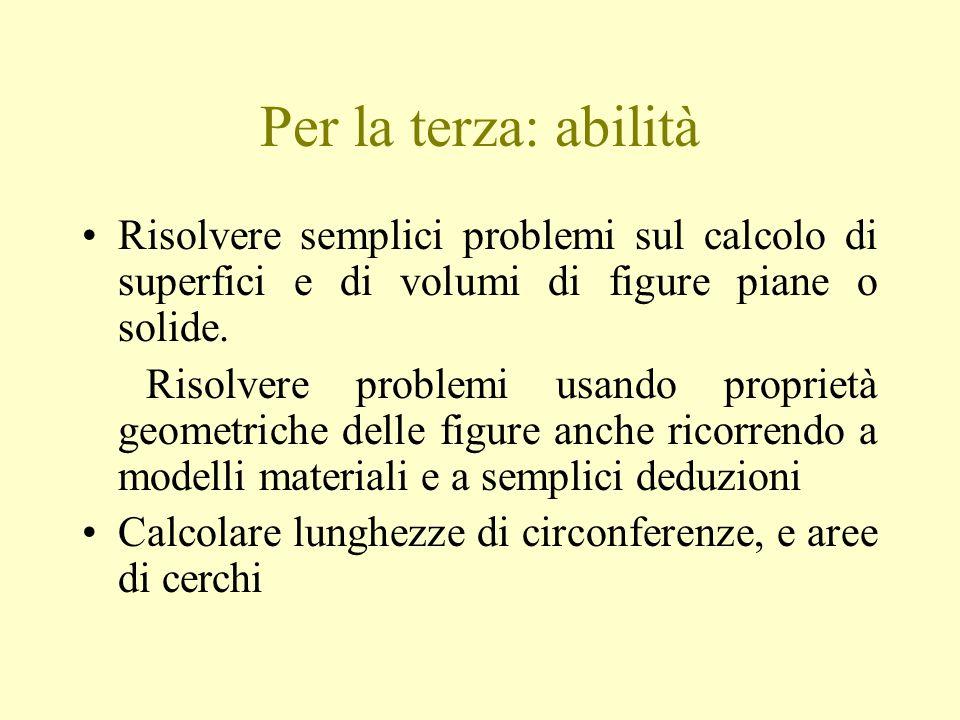 Per la terza: abilità Risolvere semplici problemi sul calcolo di superfici e di volumi di figure piane o solide.