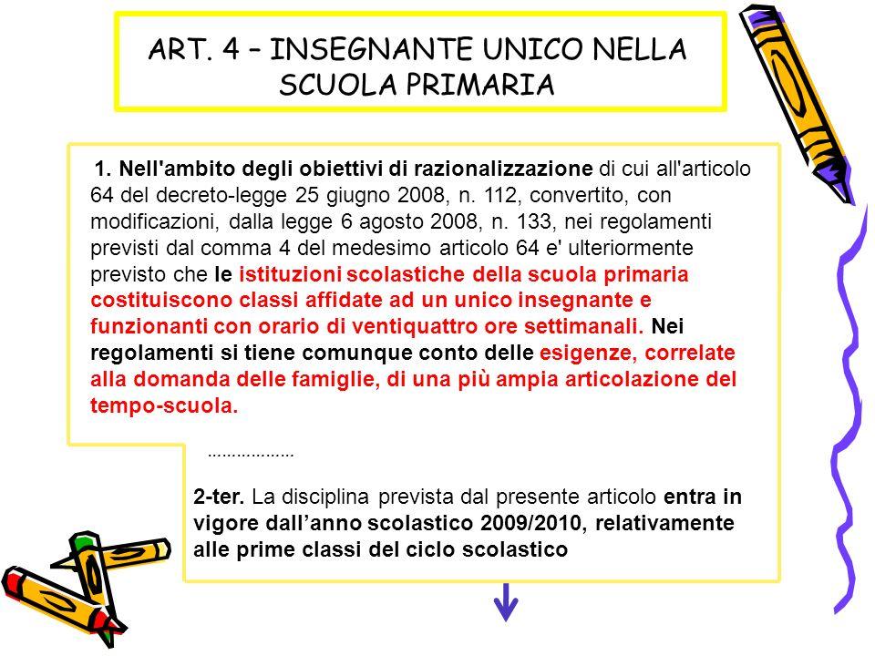 ART. 4 – INSEGNANTE UNICO NELLA SCUOLA PRIMARIA 1.