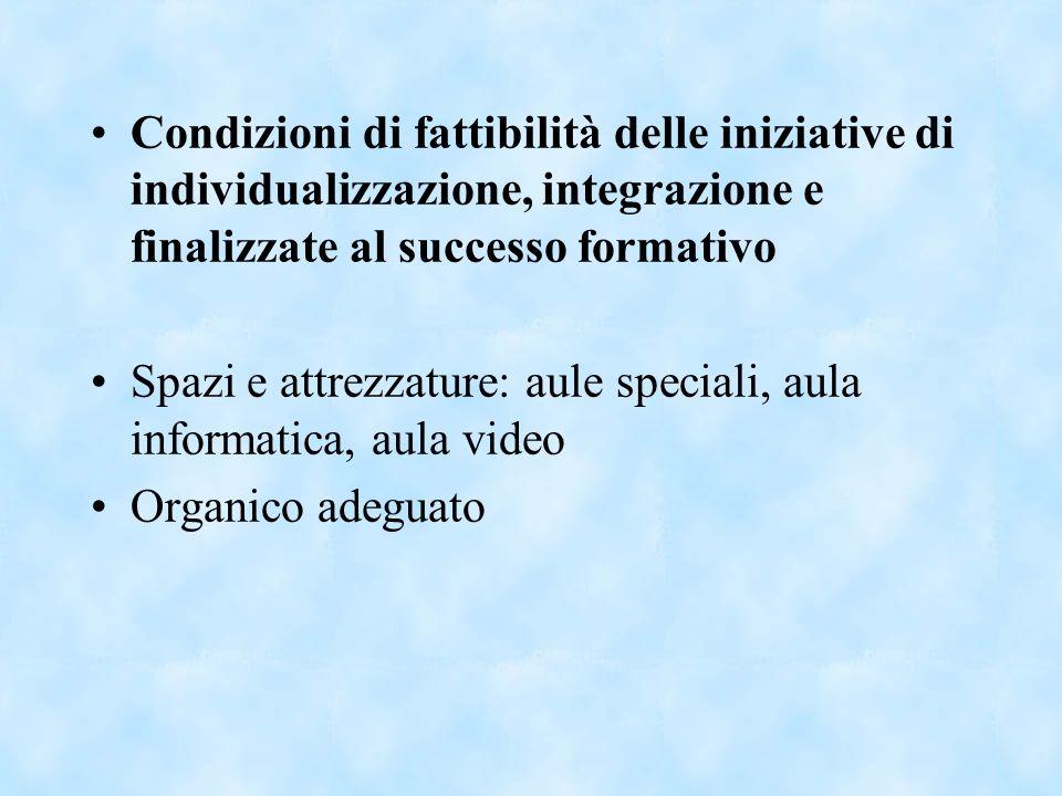 Condizioni di fattibilità delle iniziative di individualizzazione, integrazione e finalizzate al successo formativo Spazi e attrezzature: aule special