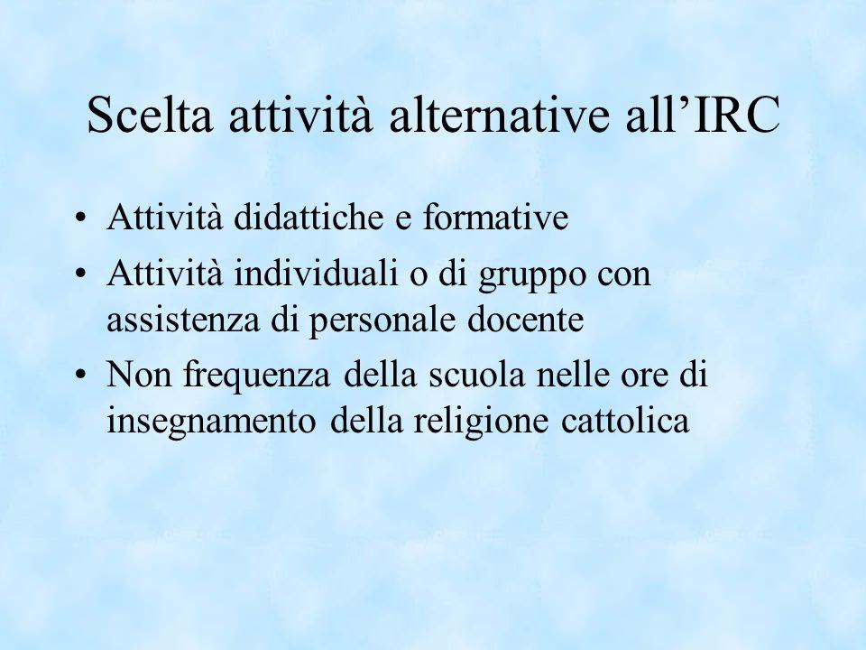 Scelta attività alternative allIRC Attività didattiche e formative Attività individuali o di gruppo con assistenza di personale docente Non frequenza