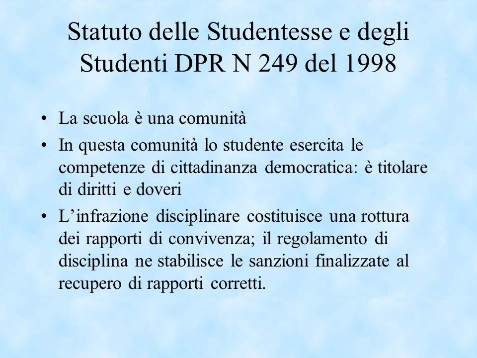 Statuto delle Studentesse e degli Studenti DPR N 249 del 1998 La scuola è una comunità In questa comunità lo studente esercita le competenze di cittad