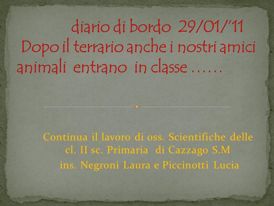 Continua il lavoro di oss. Scientifiche delle cl. II sc. Primaria di Cazzago S.M ins. Negroni Laura e Piccinotti Lucia