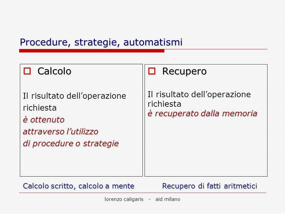 lorenzo caligaris - aid milano Procedure, strategie, automatismi Calcolo Calcolo Il risultato delloperazione richiesta è ottenuto attraverso lutilizzo