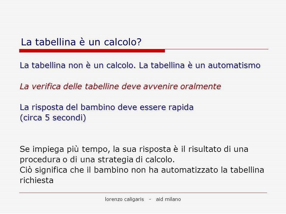 lorenzo caligaris - aid milano La tabellina non è un calcolo. La tabellina è un automatismo La verifica delle tabelline deve avvenire oralmente La ris