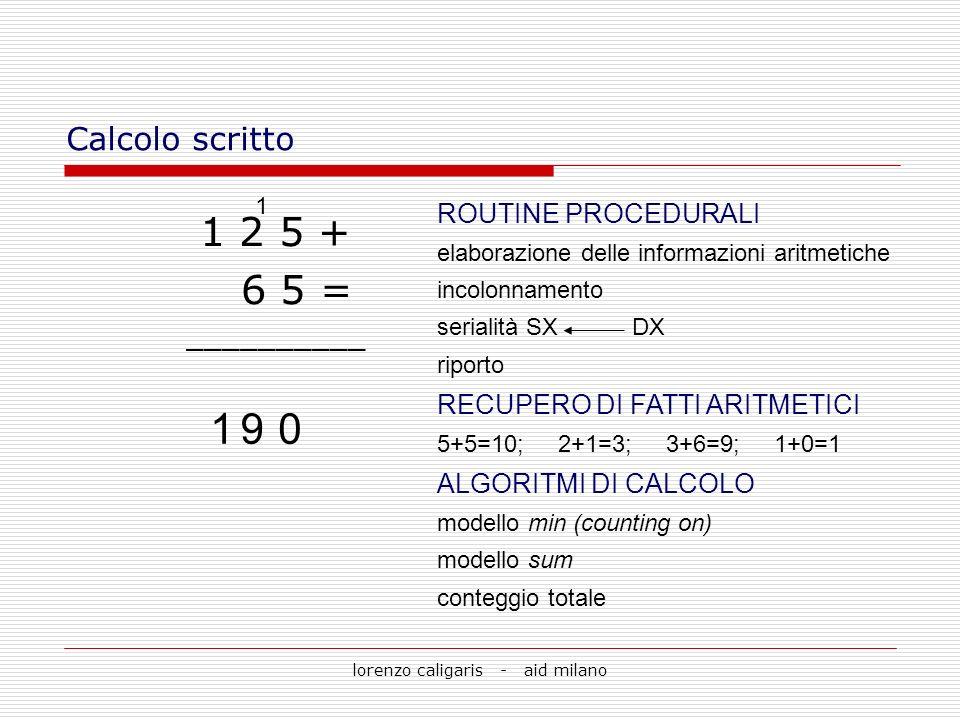 lorenzo caligaris - aid milano Calcolo scritto 1 2 5 + 6 5 = __________ 0 1 91 ROUTINE PROCEDURALI elaborazione delle informazioni aritmetiche incolon