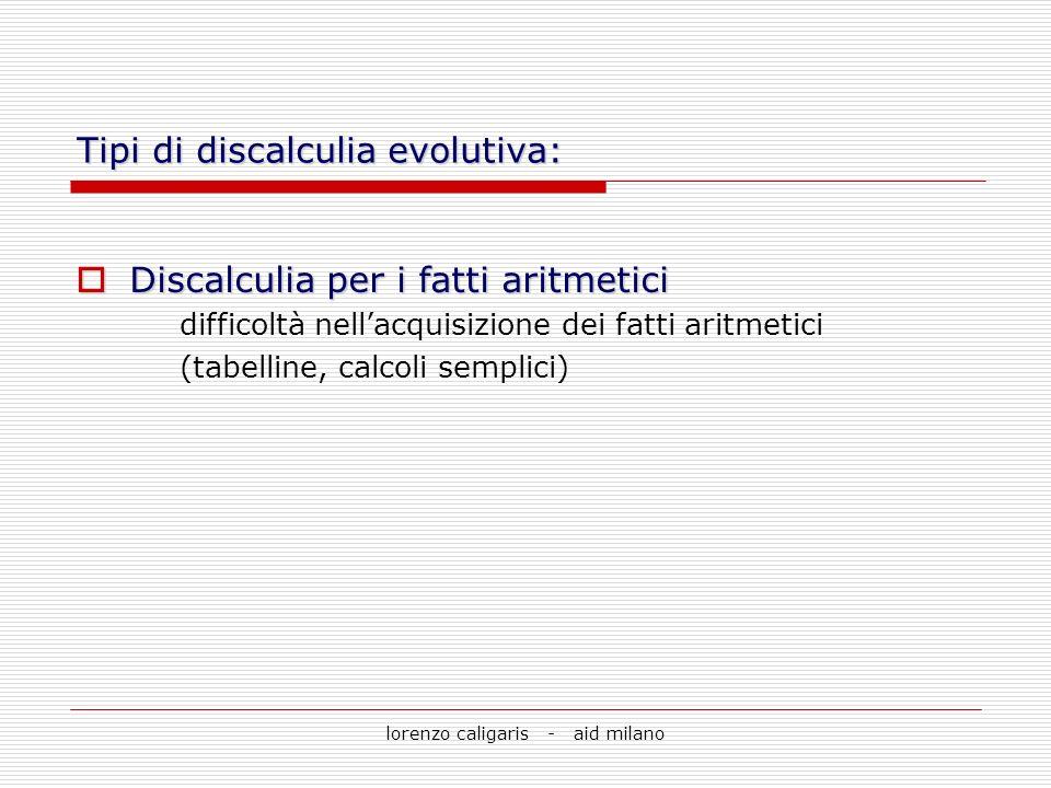 lorenzo caligaris - aid milano Tipi di discalculia evolutiva: Discalculia per i fatti aritmetici Discalculia per i fatti aritmetici difficoltà nellacq