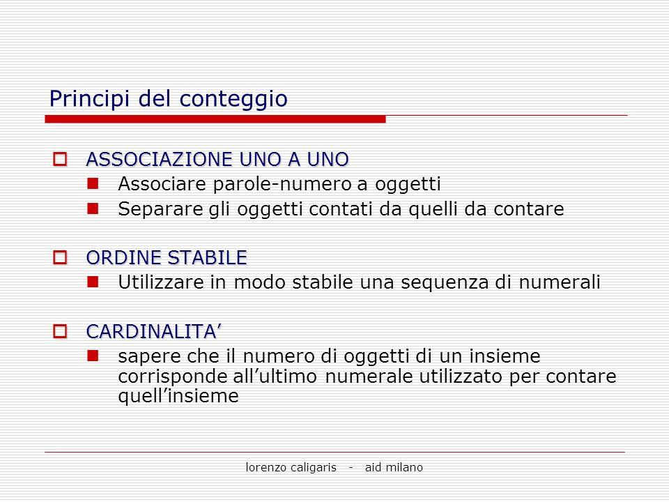 lorenzo caligaris - aid milano Principi del conteggio ASSOCIAZIONE UNO A UNO ASSOCIAZIONE UNO A UNO Associare parole-numero a oggetti Separare gli ogg