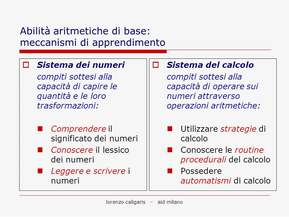 lorenzo caligaris - aid milano Tipi di discalculia evolutiva: Discalculia per i fatti aritmetici Discalculia per i fatti aritmetici difficoltà nellacquisizione dei fatti aritmetici (tabelline, calcoli semplici)