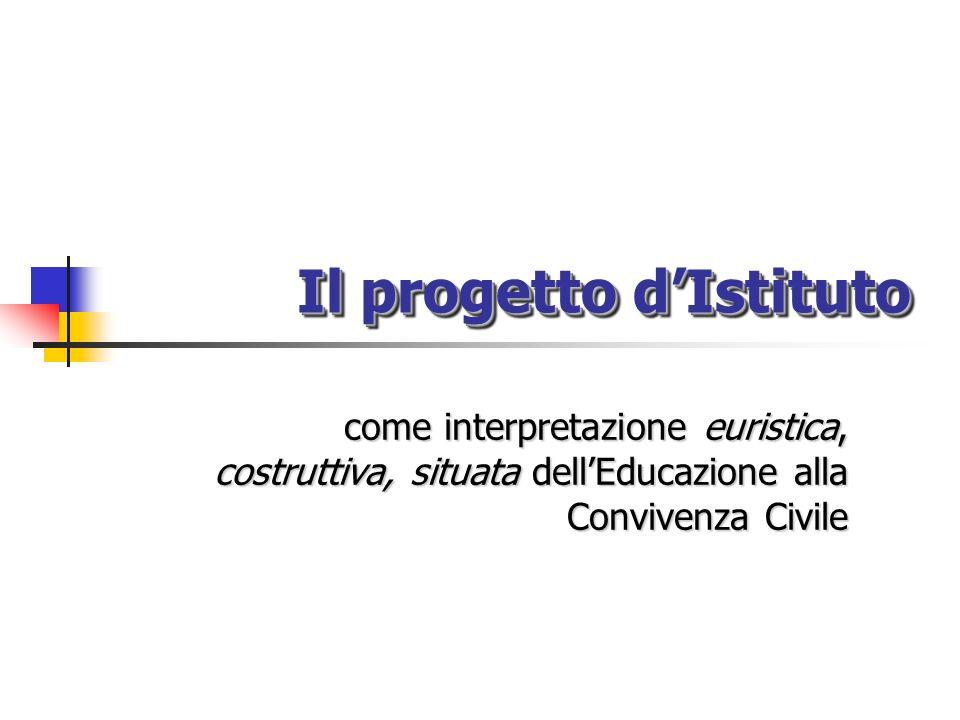 Il progetto dIstituto come interpretazione euristica, costruttiva, situata dellEducazione alla Convivenza Civile