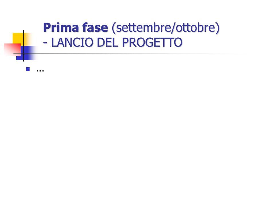 Prima fase (settembre/ottobre) - LANCIO DEL PROGETTO …