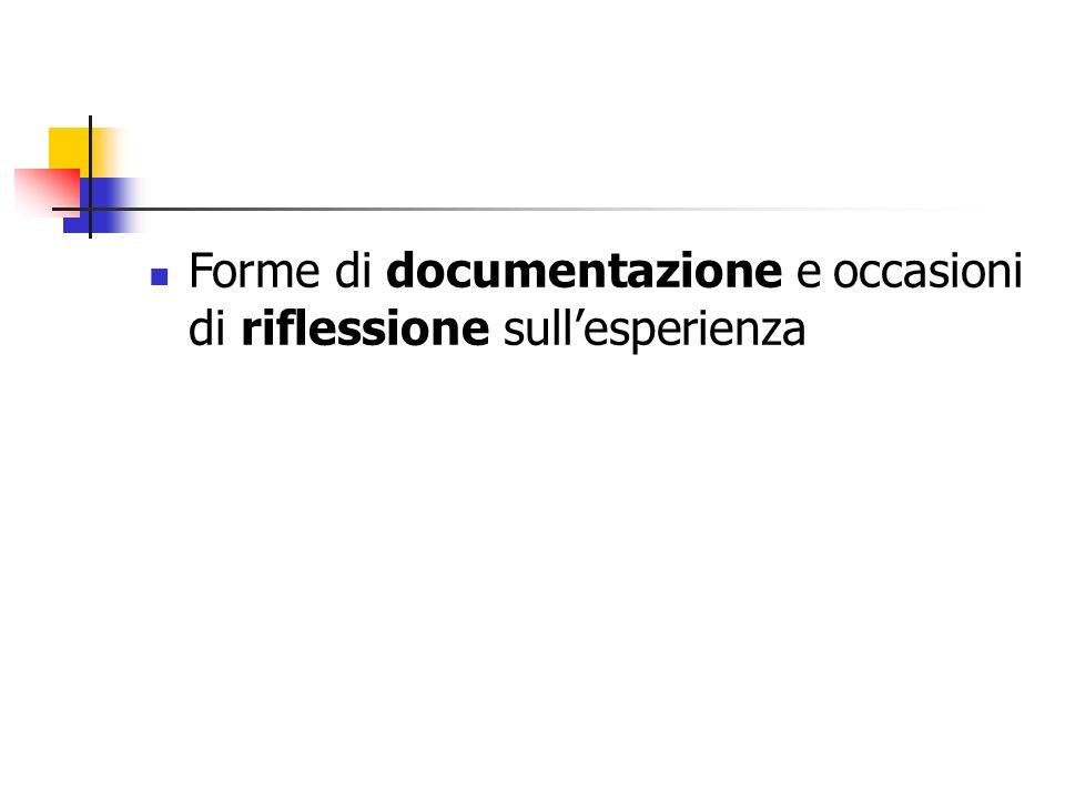 Forme di documentazione e occasioni di riflessione sullesperienza