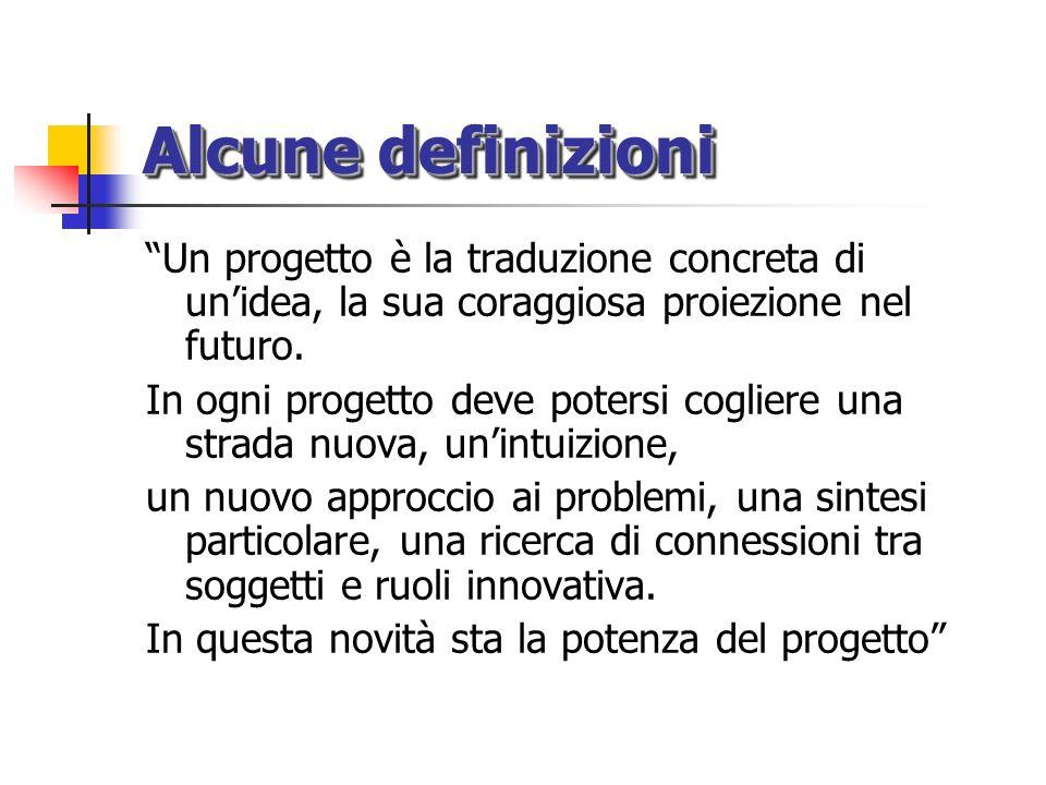 Alcune definizioni Un progetto è la traduzione concreta di unidea, la sua coraggiosa proiezione nel futuro. In ogni progetto deve potersi cogliere una