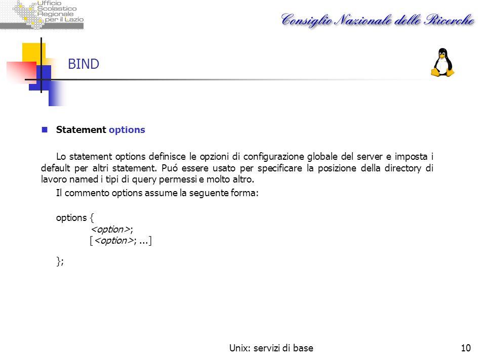 Unix: servizi di base10 BIND Statement options Lo statement options definisce le opzioni di configurazione globale del server e imposta i default per