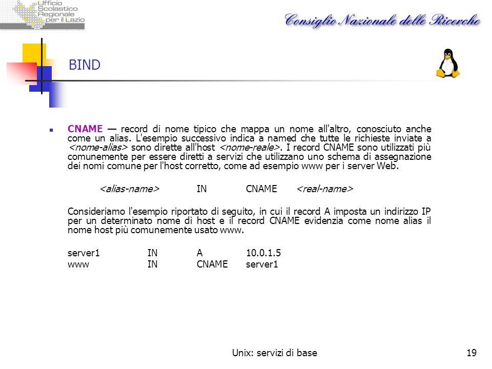 Unix: servizi di base19 BIND CNAME record di nome tipico che mappa un nome all'altro, conosciuto anche come un alias. L'esempio successivo indica a na