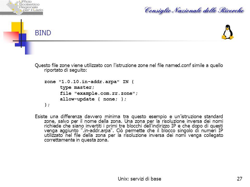 Unix: servizi di base27 BIND Questo file zone viene utilizzato con l'istruzione zone nel file named.conf simile a quello riportato di seguito: zone