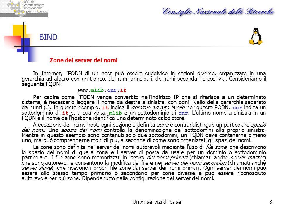 Unix: servizi di base3 BIND Zone del server dei nomi In Internet, l'FQDN di un host può essere suddiviso in sezioni diverse, organizzate in una gerarc