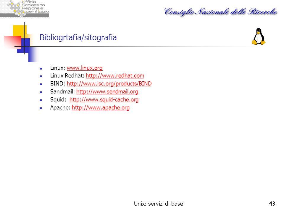 Unix: servizi di base43 Bibliogrtafia/sitografia Linux: www.linux.orgwww.linux.org Linux Redhat: http://www.redhat.comhttp://www.redhat.com BIND: http