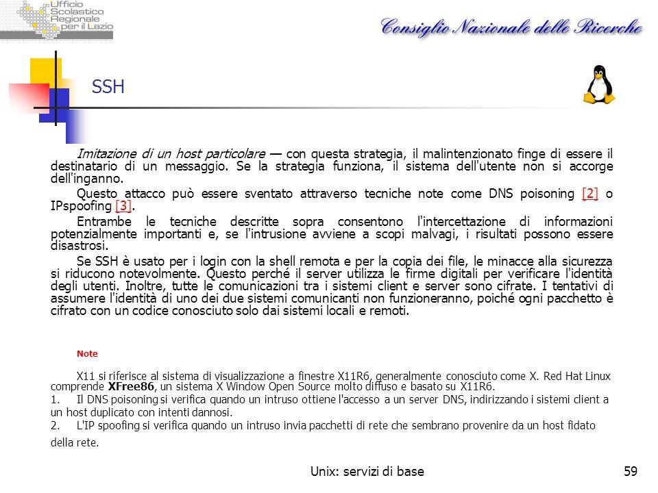 Unix: servizi di base59 SSH Imitazione di un host particolare con questa strategia, il malintenzionato finge di essere il destinatario di un messaggio