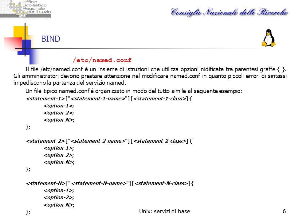 Unix: servizi di base6 BIND /etc/named.conf Il file /etc/named.conf è un insieme di istruzioni che utilizza opzioni nidificate tra parentesi graffe {