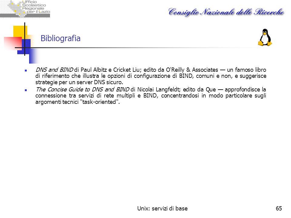 Unix: servizi di base65 Bibliografia DNS and BIND di Paul Albitz e Cricket Liu; edito da O'Reilly & Associates un famoso libro di riferimento che illu