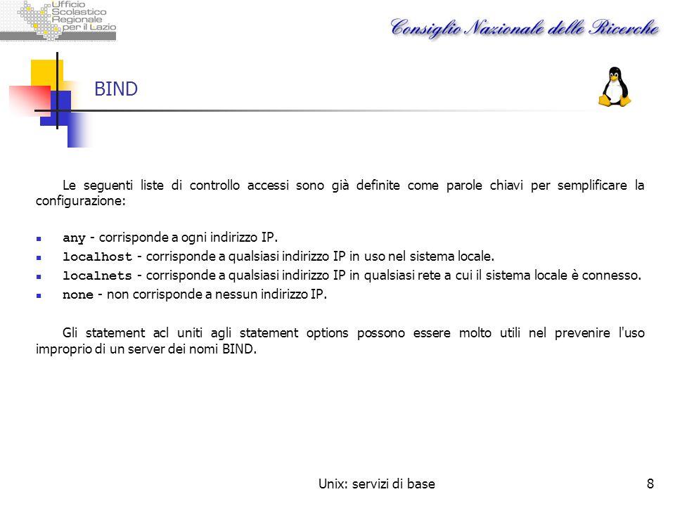 Unix: servizi di base8 BIND Le seguenti liste di controllo accessi sono già definite come parole chiavi per semplificare la configurazione: any - corr