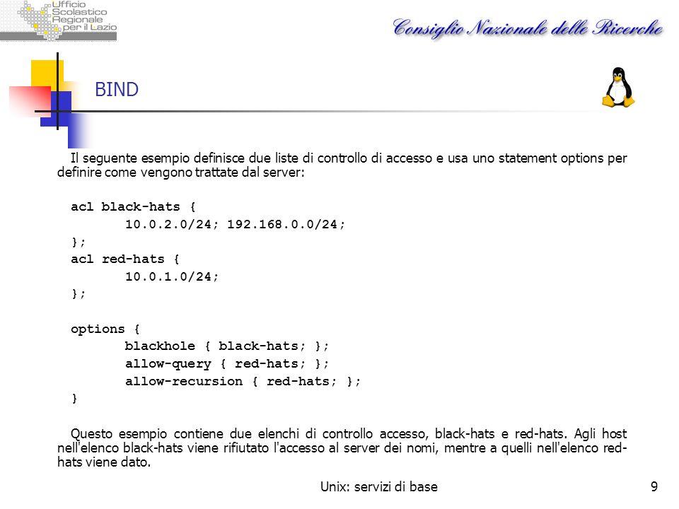 Unix: servizi di base9 BIND Il seguente esempio definisce due liste di controllo di accesso e usa uno statement options per definire come vengono trat